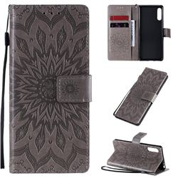 Embossing Sunflower Leather Wallet Case for Sony Xperia L4 - Gray