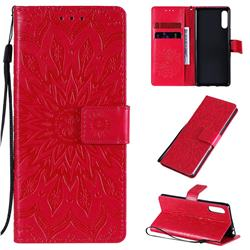 Embossing Sunflower Leather Wallet Case for Sony Xperia L4 - Red