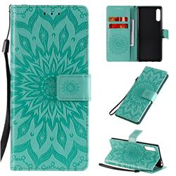 Embossing Sunflower Leather Wallet Case for Sony Xperia L4 - Green