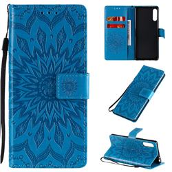Embossing Sunflower Leather Wallet Case for Sony Xperia L4 - Blue