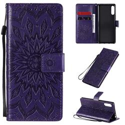 Embossing Sunflower Leather Wallet Case for Sony Xperia L4 - Purple