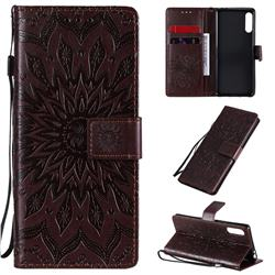 Embossing Sunflower Leather Wallet Case for Sony Xperia L4 - Brown