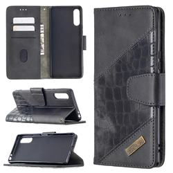 BinfenColor BF04 Color Block Stitching Crocodile Leather Case Cover for Sony Xperia L4 - Black