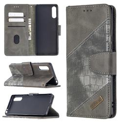 BinfenColor BF04 Color Block Stitching Crocodile Leather Case Cover for Sony Xperia L4 - Gray