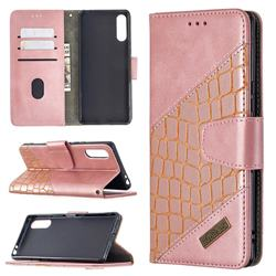BinfenColor BF04 Color Block Stitching Crocodile Leather Case Cover for Sony Xperia L4 - Rose Gold