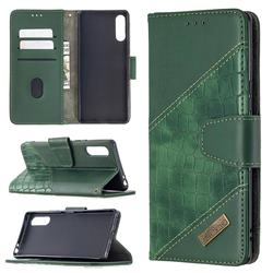 BinfenColor BF04 Color Block Stitching Crocodile Leather Case Cover for Sony Xperia L4 - Green