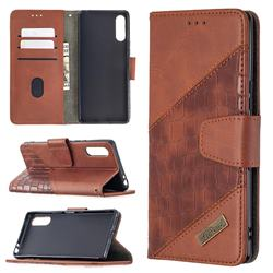 BinfenColor BF04 Color Block Stitching Crocodile Leather Case Cover for Sony Xperia L4 - Brown
