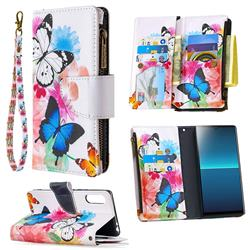 Vivid Flying Butterflies Binfen Color BF03 Retro Zipper Leather Wallet Phone Case for Sony Xperia L4