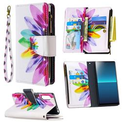 Seven-color Flowers Binfen Color BF03 Retro Zipper Leather Wallet Phone Case for Sony Xperia L4