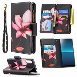 Lotus Flower Binfen Color BF03 Retro Zipper Leather Wallet Phone Case for Sony Xperia L4