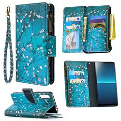 Blue Plum Binfen Color BF03 Retro Zipper Leather Wallet Phone Case for Sony Xperia L4