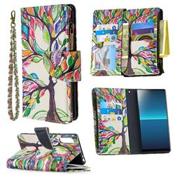 The Tree of Life Binfen Color BF03 Retro Zipper Leather Wallet Phone Case for Sony Xperia L4