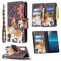 Totem Flower Elephant Binfen Color BF03 Retro Zipper Leather Wallet Phone Case for Sony Xperia L4