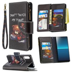 Chainsaw Bear Binfen Color BF03 Retro Zipper Leather Wallet Phone Case for Sony Xperia L4
