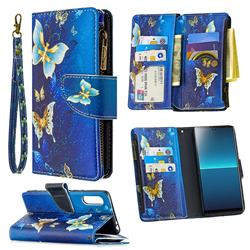 Golden Butterflies Binfen Color BF03 Retro Zipper Leather Wallet Phone Case for Sony Xperia L4