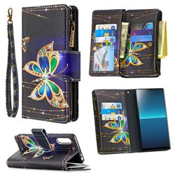 Golden Shining Butterfly Binfen Color BF03 Retro Zipper Leather Wallet Phone Case for Sony Xperia L4