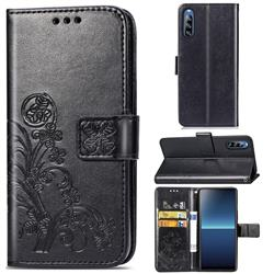 Embossing Imprint Four-Leaf Clover Leather Wallet Case for Sony Xperia L4 - Black