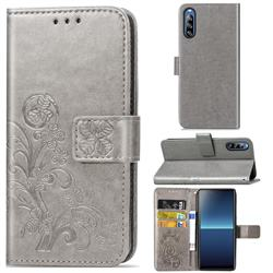 Embossing Imprint Four-Leaf Clover Leather Wallet Case for Sony Xperia L4 - Grey