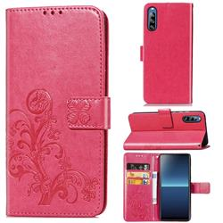 Embossing Imprint Four-Leaf Clover Leather Wallet Case for Sony Xperia L4 - Rose Red