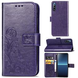 Embossing Imprint Four-Leaf Clover Leather Wallet Case for Sony Xperia L4 - Purple