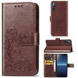 Embossing Imprint Four-Leaf Clover Leather Wallet Case for Sony Xperia L4 - Brown