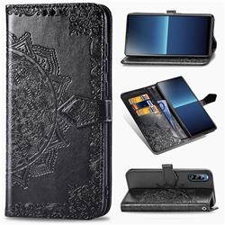 Embossing Imprint Mandala Flower Leather Wallet Case for Sony Xperia L4 - Black