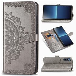 Embossing Imprint Mandala Flower Leather Wallet Case for Sony Xperia L4 - Gray