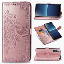 Embossing Imprint Mandala Flower Leather Wallet Case for Sony Xperia L4 - Rose Gold