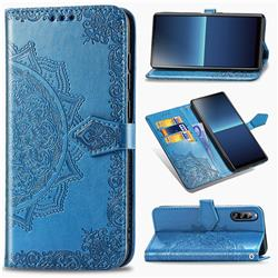 Embossing Imprint Mandala Flower Leather Wallet Case for Sony Xperia L4 - Blue