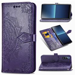 Embossing Imprint Mandala Flower Leather Wallet Case for Sony Xperia L4 - Purple