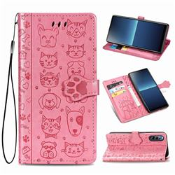 Embossing Dog Paw Kitten and Puppy Leather Wallet Case for Sony Xperia L4 - Pink