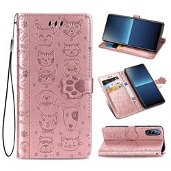 Embossing Dog Paw Kitten and Puppy Leather Wallet Case for Sony Xperia L4 - Rose Gold