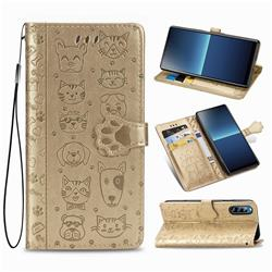 Embossing Dog Paw Kitten and Puppy Leather Wallet Case for Sony Xperia L4 - Champagne Gold