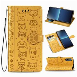 Embossing Dog Paw Kitten and Puppy Leather Wallet Case for Sony Xperia L4 - Yellow