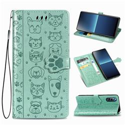Embossing Dog Paw Kitten and Puppy Leather Wallet Case for Sony Xperia L4 - Green