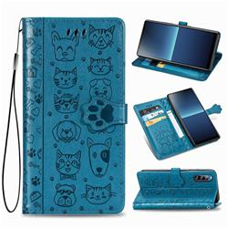 Embossing Dog Paw Kitten and Puppy Leather Wallet Case for Sony Xperia L4 - Blue