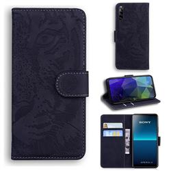 Intricate Embossing Tiger Face Leather Wallet Case for Sony Xperia L4 - Black