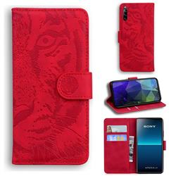 Intricate Embossing Tiger Face Leather Wallet Case for Sony Xperia L4 - Red