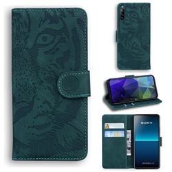 Intricate Embossing Tiger Face Leather Wallet Case for Sony Xperia L4 - Green