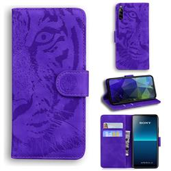 Intricate Embossing Tiger Face Leather Wallet Case for Sony Xperia L4 - Purple