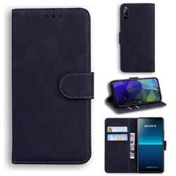 Retro Classic Skin Feel Leather Wallet Phone Case for Sony Xperia L4 - Black
