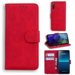 Retro Classic Skin Feel Leather Wallet Phone Case for Sony Xperia L4 - Red