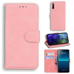 Retro Classic Skin Feel Leather Wallet Phone Case for Sony Xperia L4 - Pink