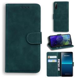 Retro Classic Skin Feel Leather Wallet Phone Case for Sony Xperia L4 - Green