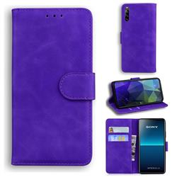 Retro Classic Skin Feel Leather Wallet Phone Case for Sony Xperia L4 - Purple
