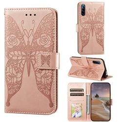 Intricate Embossing Rose Flower Butterfly Leather Wallet Case for Sony Xperia L4 - Rose Gold