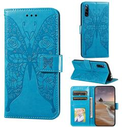 Intricate Embossing Rose Flower Butterfly Leather Wallet Case for Sony Xperia L4 - Blue