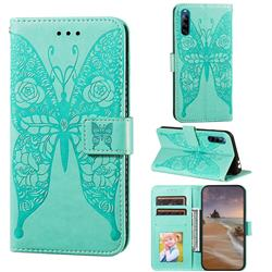Intricate Embossing Rose Flower Butterfly Leather Wallet Case for Sony Xperia L4 - Green