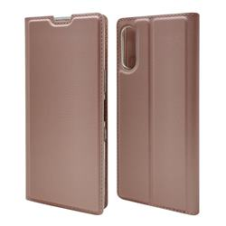 Ultra Slim Card Magnetic Automatic Suction Leather Wallet Case for Sony Xperia L4 - Rose Gold