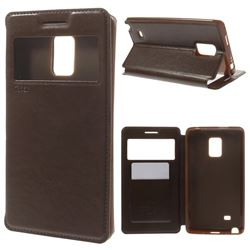 Roar Korea Noble View Leather Flip Cover for Samsung Galaxy Note Edge N915V N915A - Brown